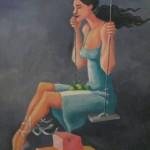 Donna sull'altalena, dettaglio di una quadro di Paula Dias