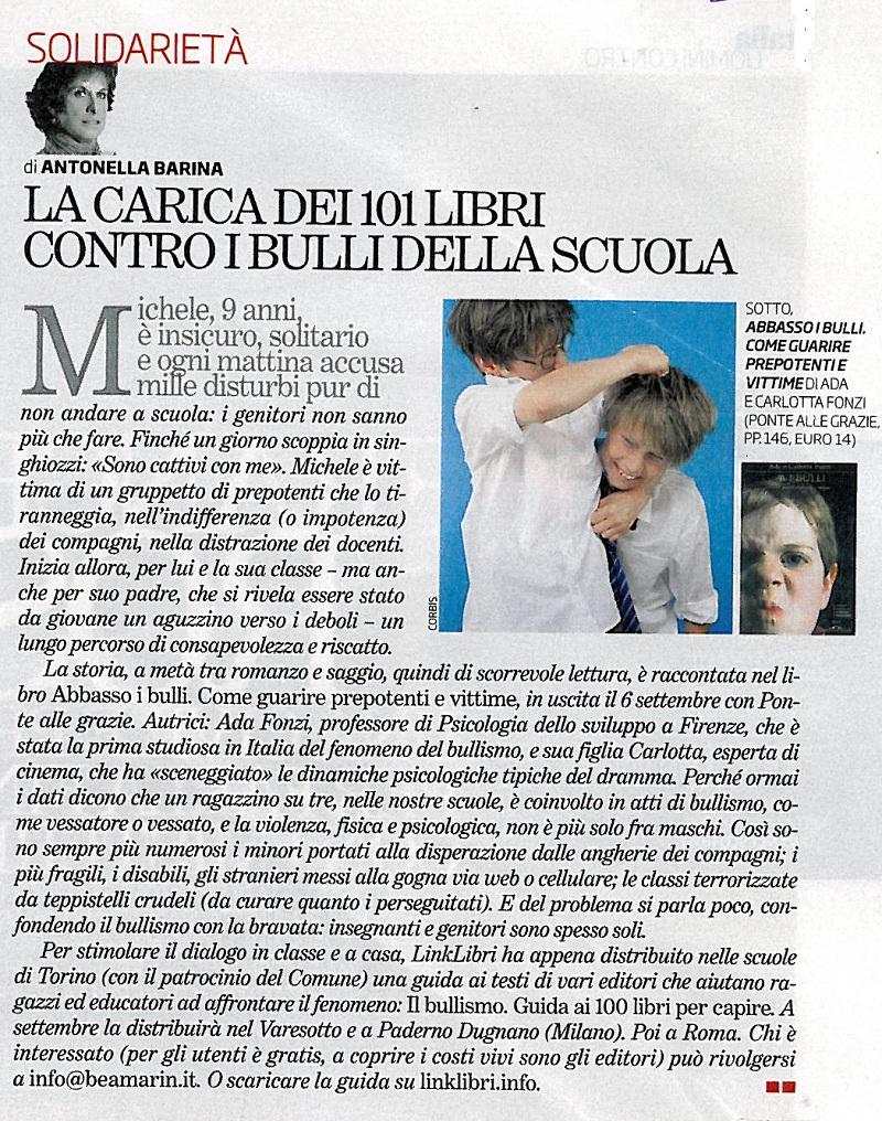 Articolo del Venerdì di Repubblica sulle letture anti-bullo