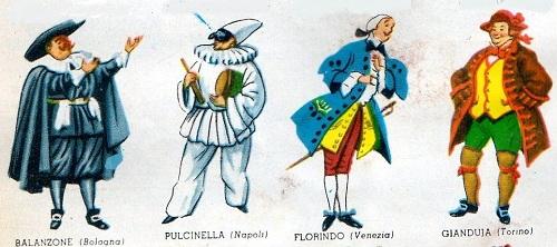Altre maschere di carnevale tra cui Pulcinella