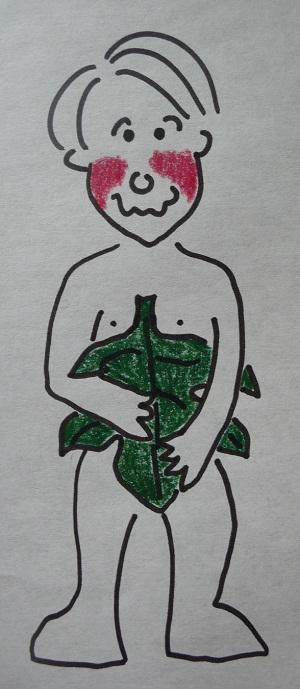 Uomo nudo con foglia di fico