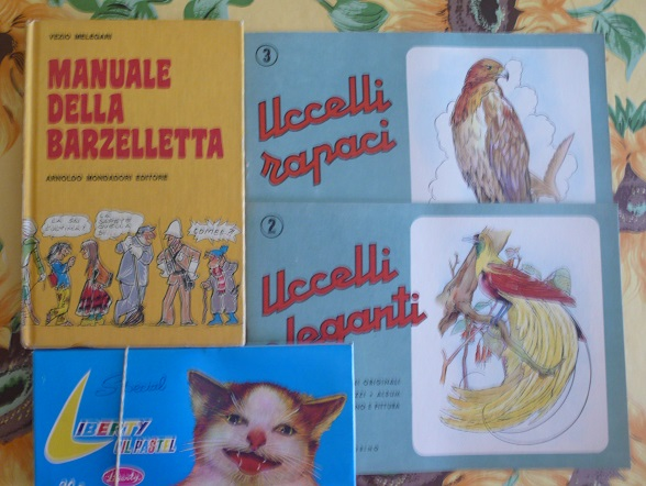 Pastelli a cera e libri vintage