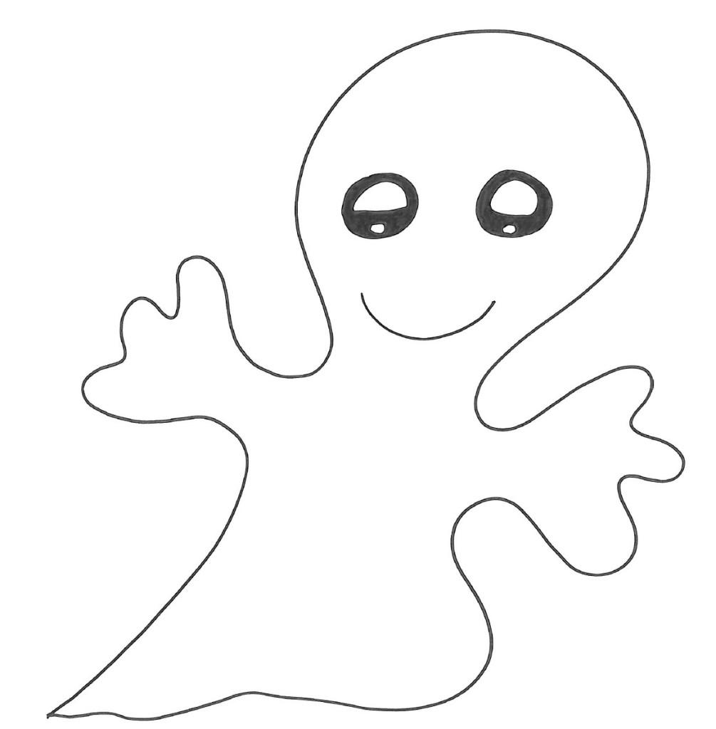 Fantasma sorridente for Fantasmi disegni da colorare