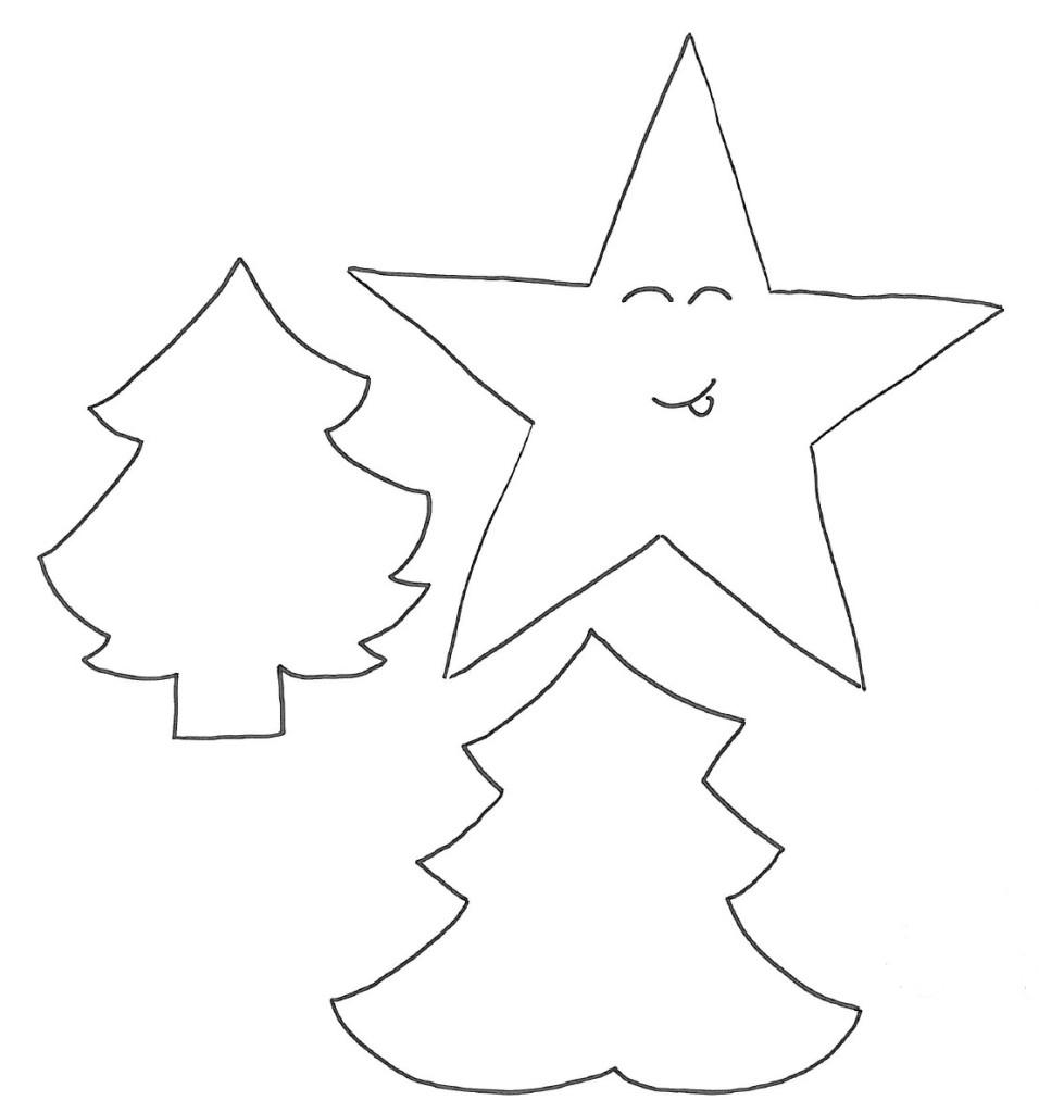 Stella e alberi di Natale disegno