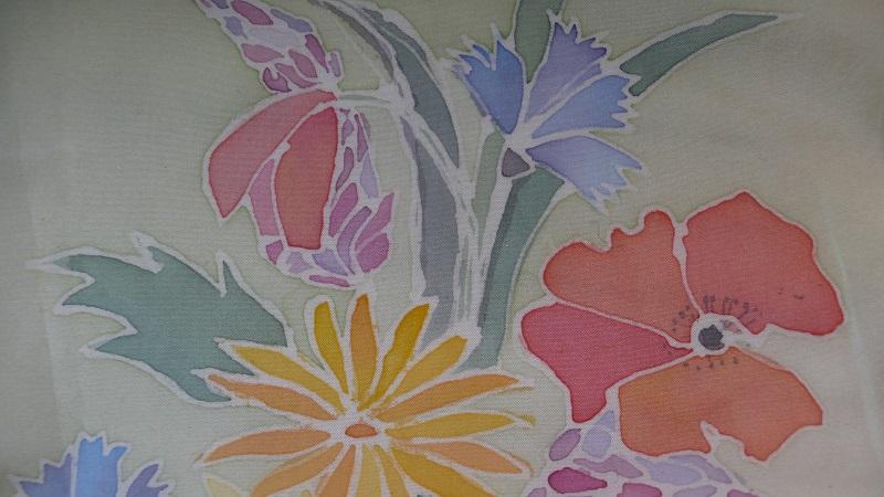 Mazzo di fiori dipinto su seta Barbara Hewitt