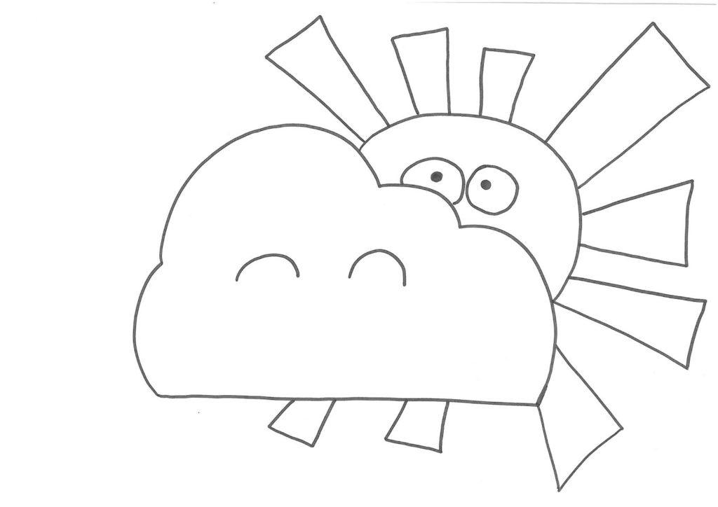 Sole coperto dalle nuvole, disegno
